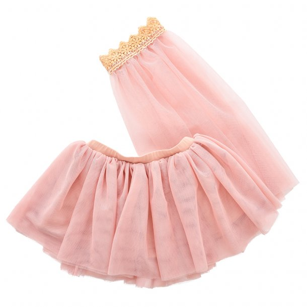 TULLE SKIRT W/VEIL- DUSTY ROSE